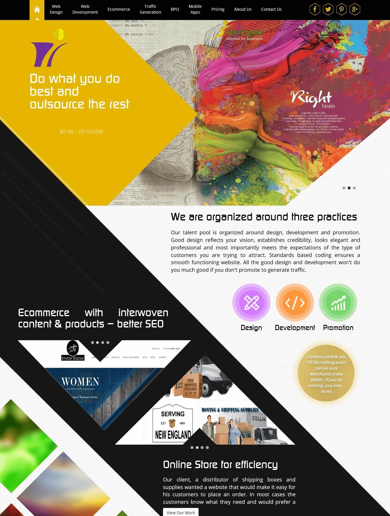 Example of a complex website design