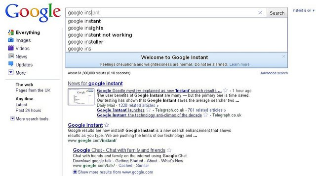 How Google instant search affects your SEO