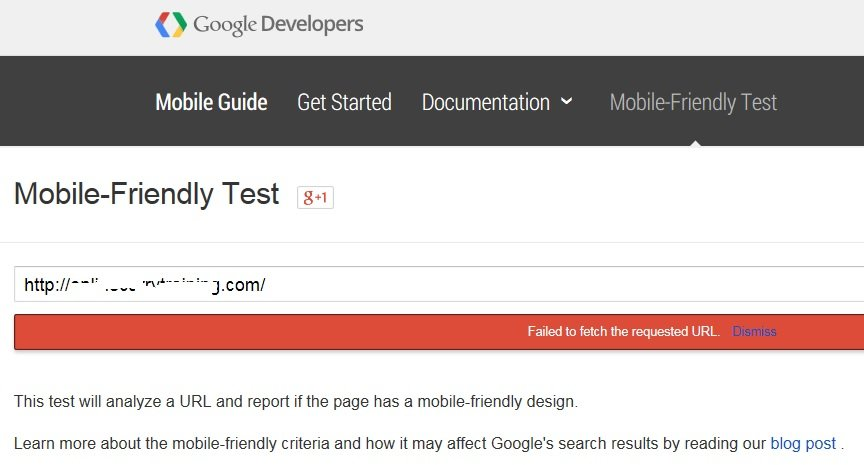 Google Mobile Friendly Test - Failed to fetch the requested URL