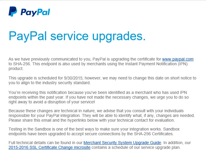 IMMEDIATE ATTENTION REQUIRED: PayPal service upgrades